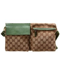 Gucci Brown GG Canvas & Green Leather Waist Pouch