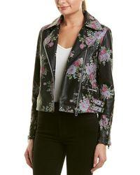 Walter Baker Sherron Floral Printed Leather Jacket - Black