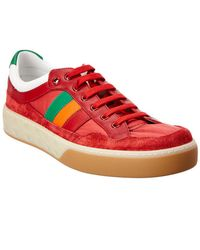 ca14719fae60 Gucci Leather Sneakers With Web in White for Men - Lyst