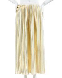 Gucci Nwot Almond Cream & Metallic Gold Wool & Lurex Pleated Skirt Sz S - Multicolor