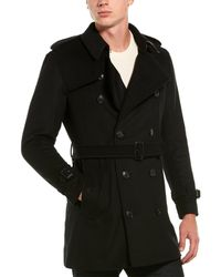 Burberry Wool Cashmere Trench Coat - Black