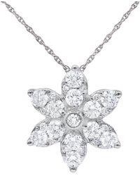 Diana M. Jewels . Fine Jewelry 14k 1.00 Ct. Tw. Diamond Flower Necklace - Multicolor