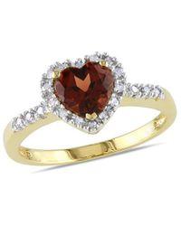 Rina Limor - 10k 0.93 Ct. Tw. Diamond & Garnet Heart Ring - Lyst