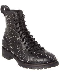 Jimmy Choo Cruz Studded Star Leather Combat Boot - Black