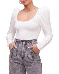 Astr Fatima Puff Sleeve Bodysuit - White