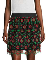 Anna Sui - Poppy Trellis Embroidered Flared Skirt - Lyst