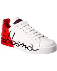 Dolce & Gabbana Portofino Leather Trainer - Red