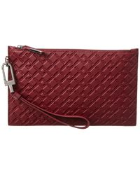 Versace Greek Key Leather Pouch - Red