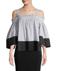 7cd7c29563f24 Kendall + Kylie - Kendall + Kylie Smocked Cold-shoulder Top - Lyst