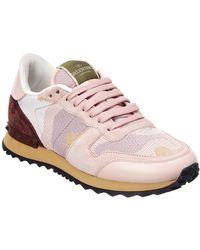 Valentino Garavani Rockrunner Leather & Suede Trainer - Pink