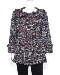 Chanel Plaid & Rhinestone-embellished Silk-blend Boucle Jacket (size 40) , Nwt - Blue