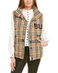 Burberry Horseferry Check Print Puffer Vest - Natural
