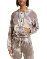 Ariella Tie-dye 1/2-zip Hoodie - Brown