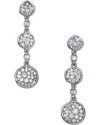 Plevé | 18k White Gold & Diamond Pebble Drop Earrings | Lyst