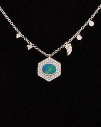 Meira T 14k 0.54 Ct. Tw. Diamond & Opal Necklace - Black