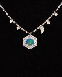 Meira T Dnu 14k 0.54 Ct. Tw. Diamond & Opal Necklace - Black