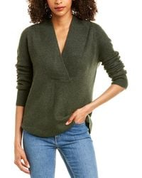 Vince Ribbed Shawl Collar Wool & Cashmere-blend Tunic - Green