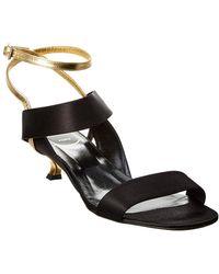 Roger Vivier Satin & Leather Sandal - Black