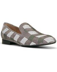 Donald J Pliner Lyle Embellished Suede Loafer - Grey