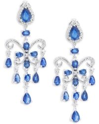 Effy Final Call Diamond, Natural Sapphire And 14k White Gold Drop Earrings - Multicolour