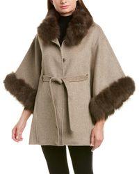 La Fiorentina Wool Wrap Cape - Brown