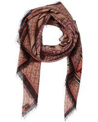 Burberry Monogram Print Wool & Silk-blend Square Scarf - Pink