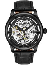 Stuhrling Original Men's Leather Watch - Black