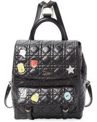 Dior Embellished Leather Quilt Backpack - Black
