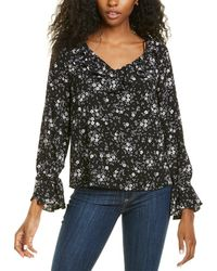 Cece By Cynthia Steffe Ruffled Delicate Floral Blouse - Black