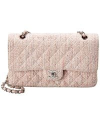 Chanel Pink Quilted Tweed Medium Double Flap Bag