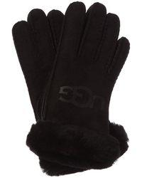 UGG Logo Suede Gloves - Black