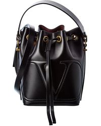 Valentino Vlogo Walk Leather Bucket Bag - Black