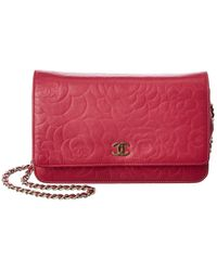 Chanel Red Lambskin Leather Wallet On Chain