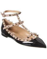 Valentino Rockstud Caged Patent Ankle Strap Ballet Flat - Black