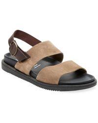 Miramare Italia - Suede & Leather Flat Sandal - Lyst