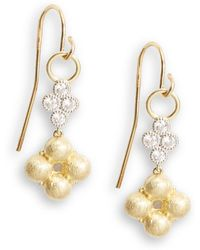 Jude Frances Diamond, 18k Yellow Gold & Sterling Silver Clover Drop Earrings - Metallic