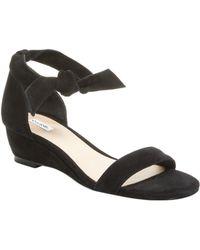 Elorie Ankle-wrap Demi Wedge Sandal - Black