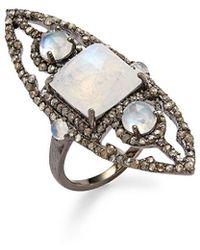 Bavna Silver Diamond & Moonstone Ring - Metallic