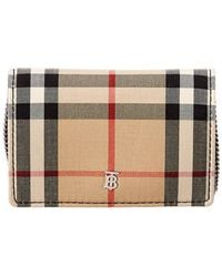 Burberry Jessie Vintage Check & Leather Card Case On Chain - Black