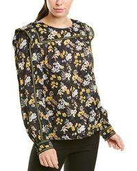 10 Crosby Derek Lam Floral Silk Blouse - Black