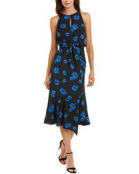 10 Crosby Derek Lam Belted Rose-print Midi Dress - Blue
