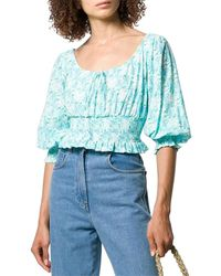 RIXO London Helena Floral Crop Top - Blue