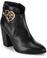 Love Moschino - Stacked Heel Leather Booties - Lyst