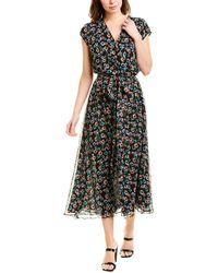 Jason Wu Belted Wrap-effect Floral-print Silk-georgette Midi Dress - Black