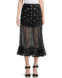 Alice McCALL Floral Pleated Skirt - Black