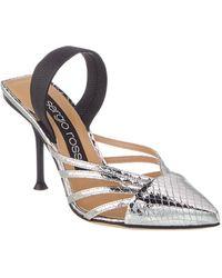 Sergio Rossi Metallic Leather Pin Heel Mule - Gray