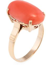 Estate Fine Jewelry - Vintage 18k Yellow Gold & Coral Ring - Lyst