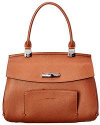 Longchamp Madeleine Medium Leather Top Handle Satchel - Brown