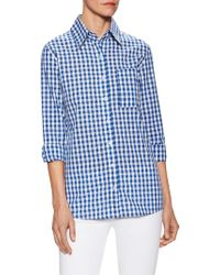 Zoe & Sam - Gingham Cotton Check Print Top - Lyst