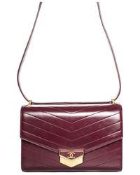 Chanel 2018 Paris-hamburg Maroon Chevron Quilted Leather Medal Large Flap Bag - Purple